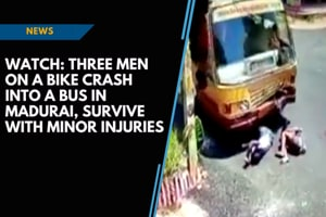 Watch: Three men on a bike crash into a bus in Madurai, survive with minor...