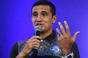 Tim Cahill of the Jamshedpur FC of the Indian Super League (ISL) gestures as he speaks during an event in Kolkata.