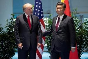 US President Donald Trump and Chinese President Xi Jinping meet on the sidelines of the G20 Summit in Hamburg, Germany, July 8, 2017.