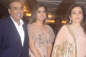 Businessman Mukesh Ambani along with his wife Nita Ambani and daughter Isha Ambani arrive at Priyanka Chopra and Nick Jonas