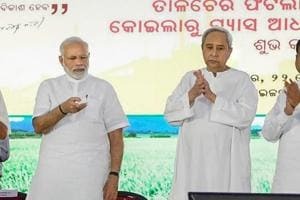 Prime Minister Narendra Modi lays the foundation stone of the Talcher Ferlitiliser Plant, Angul in Odisha, Saturday, September 22, 2018.