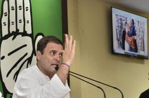 Congress president Rahul Gandhi gestures while addressing the media on Rafale deal issue, in New Delhi, on September 22, 2018.