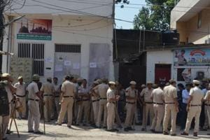 On account of Muharram, a heavy police force remained deployed throughout the day in the Sheetla Colony.
