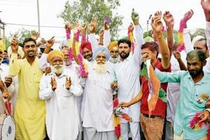 As the Congress registered victory in majority of zones of block samiti and zila parishad polls, party workers celebrating outside the counting centre in Bathinda on Saturday.