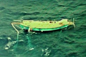 Indian Navy Ace Sailor Abhilash Tomy who was injured and incapacitated day before has been tracked by the Indian Navy Reconnaissance aircraft.  As seen, Boat Mast broken and hanging on the side, said Navy.