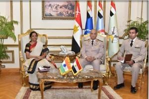 Defence minister Nirmala Sitharaman in a bilateral meeting with Lt Gen Mohamed Ahmed Zaki, Hon'ble Minister of Defense, Egypt, discussing the bolstering of strategic ties between the two nations.