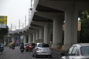 Ghaziabad, India -September 15, 2018: A view of New Bus Stand road, in Ghaziabad, India, on Saturday, September 15, 2018. To find out probable traffic bottlenecks outside the eight stations on the upcoming Metro stretch, the Ghaziabad development authority (GDA) has formed a committee of officials which will suggest alternate routes and means of accommodating passengers when the 9.41km metro route becomes operational by November. A meeting in this regard was also held with the officials of the Delhi Metro Rail Corporation (DMRC) on Wednesday. (Photo by Sakib Ali /Hindustan Times)** To go with Peeyush Khandelwal