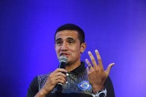 Australian player Tim Cahill of the Jamshedpur FC of the Indian Super League (ISL) gestures as he speaks during an event in Kolkata on September 22, 2018. - This will be the fifth season of the Indian Super League, since its establishment in 2014.