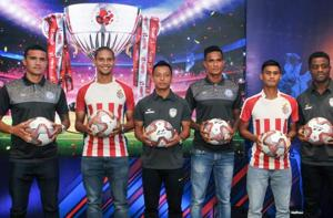 Kolkata: (L to R) Jamshedpur FC star player Tim Cahill, ATK player Gerson Vieira, NortEast United player Redeem Tlang, Jamshedpur player Subrata Paul, ATK player Eugenson Lyngdoh and NortheEast United