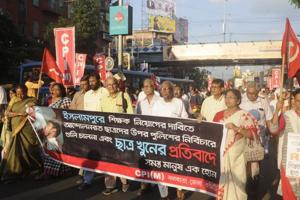 Protest rally on the issue of school students death of Islampur, at Gariahat crossing in Kolkata on Sunday.
