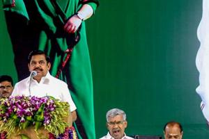 Tamil Nadu Chief Minister K Palaniswami speaks at the centenary celebrations of late chief minister MG Ramachandran in Kanyakumari on September 22, 2018.