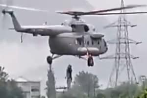 The Indian Air Force on Monday rescued two people who were stranded near NHPC Colony in Kullu district's Nagwain area due to heavy rainfall in Himachal Pradesh which has resulted in flash floods