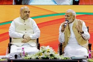 Prime Minister Narendra Modi and BJP president Amit Shah during BJP National Executive meeting, in New Delhi, Sept 9, 2018.