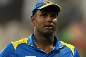 Angelo Mathews looks on during  Sri Lanka's Asia Cup 2018 match against Afghanistan.