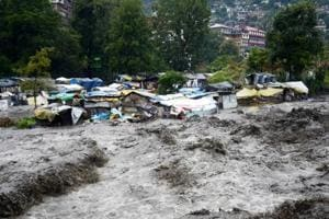 The swollen Beas in Kullu. Schools in at least nine of 12 districts of Himachal will remain closed on Monday after rain and snowfall lashed many parts of the state.