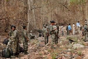 Latehar: Security personnel carry out search in Kedu forest after five hardcore Maoists were gunned down by CRPF forces in an encounter, in Latehar district of Jharkhand on Wednesday.