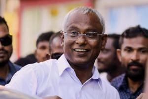 Maldivian president-elect Ibrahim Mohamed Solih arrives at an event with supporters in Male, Maldives on September 24, 2018.