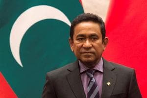 Maldives president Abdulla Yameen attends a signing meeting at the Great Hall of the People in Beijing.