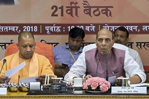 Union home minister Rajnath Singh and Uttar Pradesh chief minister Yogi Adityanath at a meeting of the Central Zonal Council in Lucknow, on Monday.