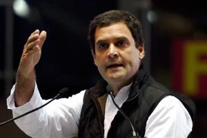 Congress vice president Rahul Gandhi addresses at the party