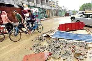 A view of the roads at the Sector 18 market in Noida. Authority officials said that work for Sector 18 is a priority and coordinated efforts by all departments have started.