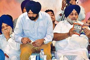 Shiromani Akali Dal president Sukhbir Singh Badal (centre) with party leaders during the annual political conference at Chhapar Mela in Ludhiana on Monday.