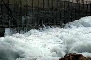 Thanks to copious rains the city received on Sunday and Monday, a large amount of froth was seen on the surface of the 900-acre Bellandur lake.