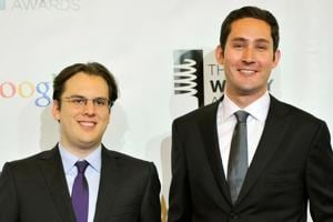 Instagram founders Mike Krieger (left) and Kevin Systrom attend the 16th annual Webby Awards in New York.