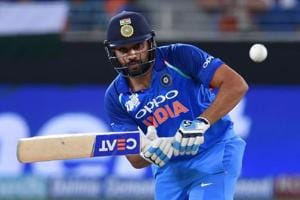 Indian Cricket team captain Rohit Sharma plays a shot during the one day international (ODI) Asia Cup cricket match between Pakistan and India at the Dubai International Cricket Stadium