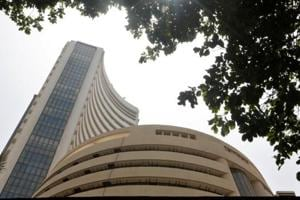 The Bombay Stock Exchange building is seen from a facade in Mumbai.