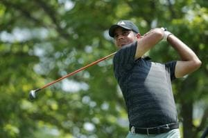 Shubhankar Sharma of India plays his shot from the second tee during the second round of the 2018 PGA Championship at Bellerive Country Club