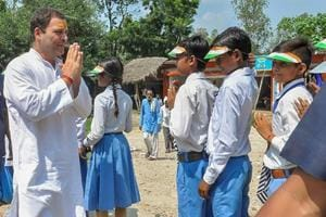 Congress president Rahul Gandhi meeting students on the first day of his two-day visit to Amethi.