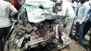 The three deceased were travelling in a Maruti Swift Dzire on the Ahmednagar - Daund highway when they met with the accident.