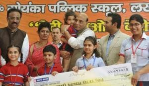 Union home minister Rajnath Singh at a function organised at GDGoenka Public School in Lucknow.