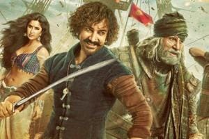 Aamir Khan, Amitabh Bachchan, Katrina Kaif and Fatima Sana Shaikh in the Thugs of Hindostan poster.
