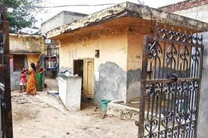 A view of the room where accused Pooja lived with her partner Sanoj and his wife Seema, 30,in Devi Lal Colony of Sector 9 in the city.