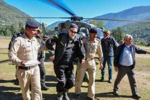 Stranded tourists being brought to Kullu after they were rescued by the Indian Air Force from snow-marooned Lahaul & Spiti district of Himachal Pradesh on Wednesday.