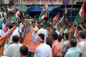 BJP supporters take out a rally in support of the Bengal bandh at Shyambazar in North Kolkata, India on September 26