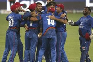Afghanistan players celebrate the dismissal of India