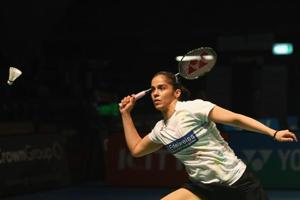 Saina Nehwal of India plays a shot as she competes in 2016 Australian Badminton Open quarterfinal match against Ratchanok Intanon of Thialand at Sydney Olympic Park Sports Centre on June 10, 2016 in Sydney, Australia.