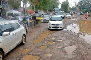 The potholed stretch on the Delhi-Meerut Road (erstwhile NH58) in Muradnagar, which has thrown traffic out of gear.