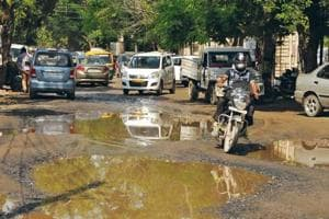 Broken roads mar the stretches of Sushant Lok, especially in Block-C, as they make commute hard and also are a site for mosquito breeding after rains.