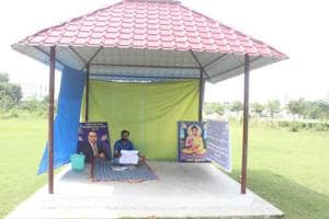 Rohit Singh in his makeshift tent on BBAU campus.