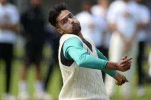 File image of Pakistan fast bowler Mohammad Amir in action during a training session.