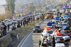 The Jammu-Srinagar national highway was closed Thursday in Ramban district following a landslide, officials said.