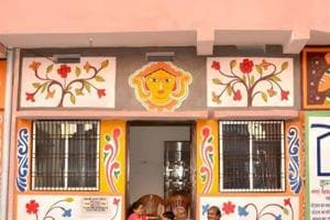Sohrai art on the walls of a building in Jamshedpur, September 26, 2018.