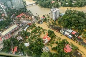Flood affected areas of Chengannur seen from a Indian Navy helicopter, at Alappuzha district of the Kerala on August 19, 2018.