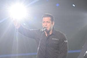 Actor Salman Khan on the sets of singing reality show Indian Idol 10 in Mumbai.