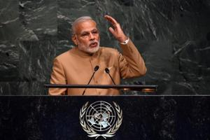 Narendra Modi, Prime Minister of the Republic of India speaks the United Nations Sustainable Development Summit to the at the United Nations General Assembly in New York September 25, 2015.