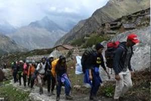 A group from Mumbai heading towards Dronagiri hill. Uttarakhand tourism department recently organized a trekking camp.